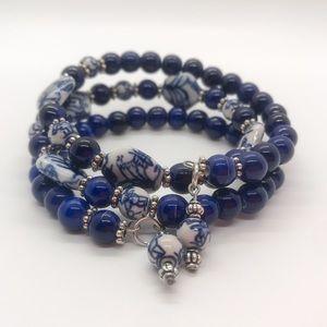 Cobalt Blue and White Ceramic Beaded Bracelet